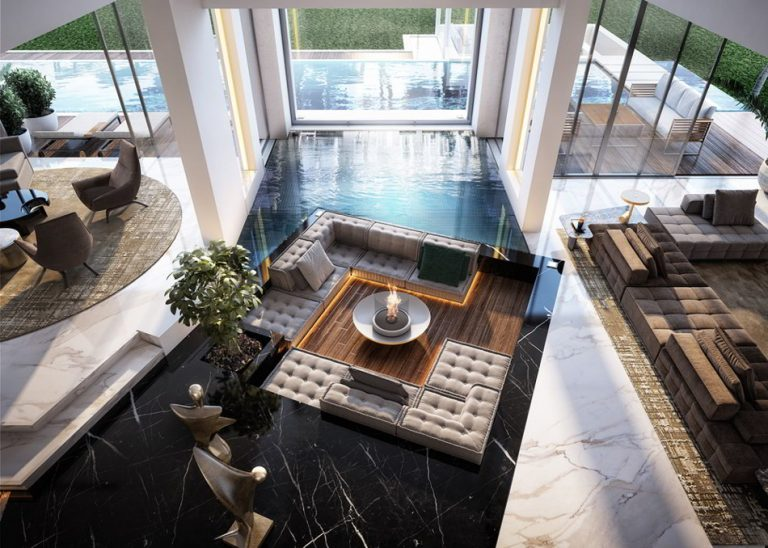 Mansion Living Rooms With Pool