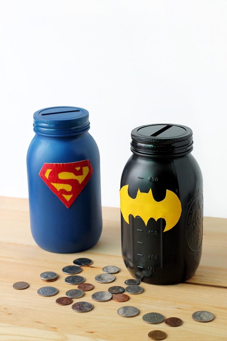 Mason Jar Super Hero Bank