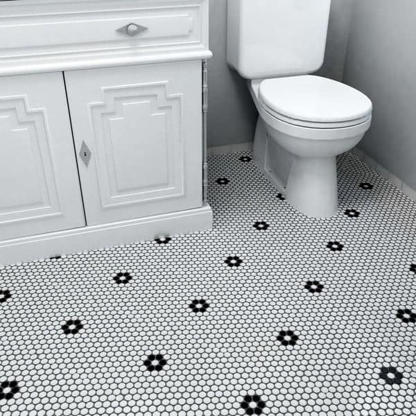 Matte White Black Flower Porcelain Mosaic Penny Tile