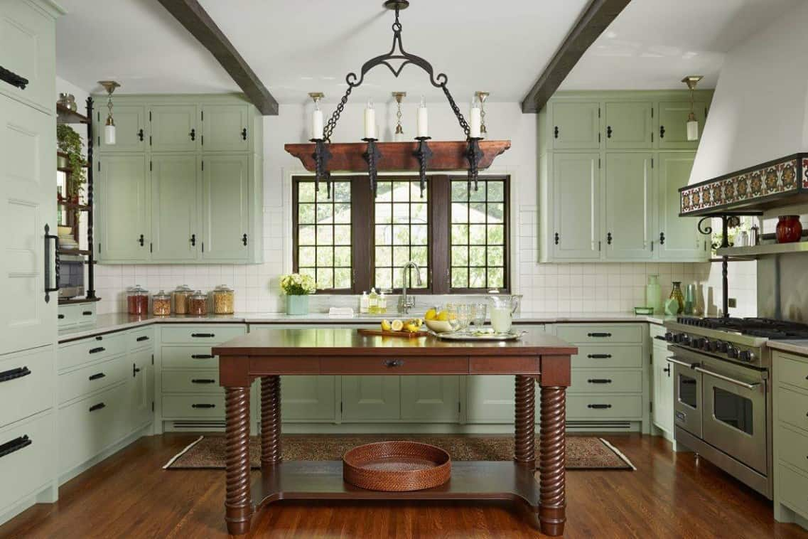 Mediterranean Green Kitchen Cabinet