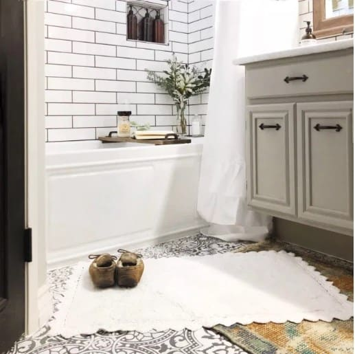 Metro Tile Wall Farmhouse Bathroom Decor Ideas