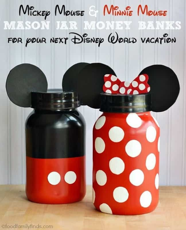 Mickey and Minnie Mouse Mason Jar Banks
