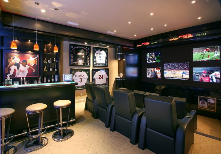 Minibar and Theater Man Cave Ideas