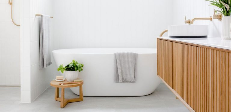 Minimalist Bathroom with Wooden Touch