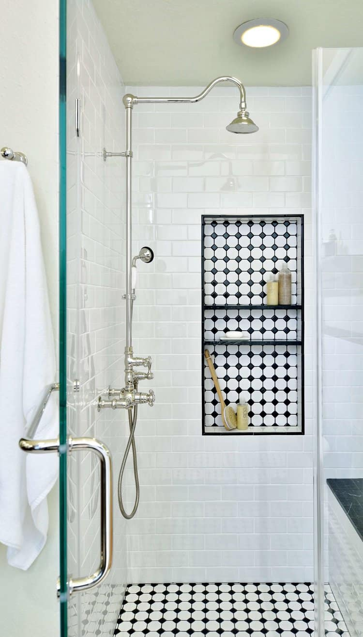 Modern Shower With Black and White Hint