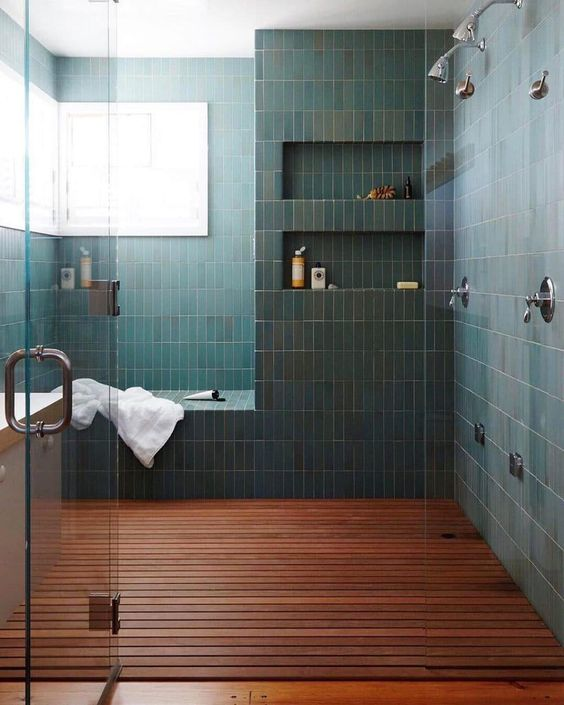 Modern Shower With Wooden Flooring