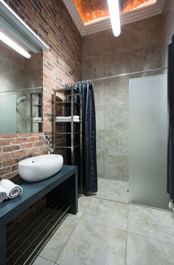 Natural Brick Modern Shower