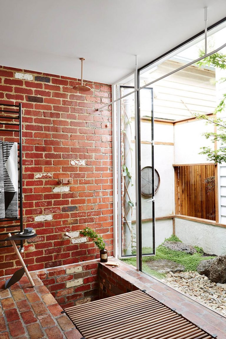 Natural Brick Outdoor Shower