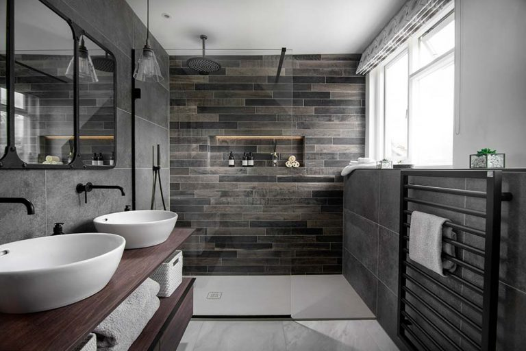 Natural Stone Industrial Style Bathroom