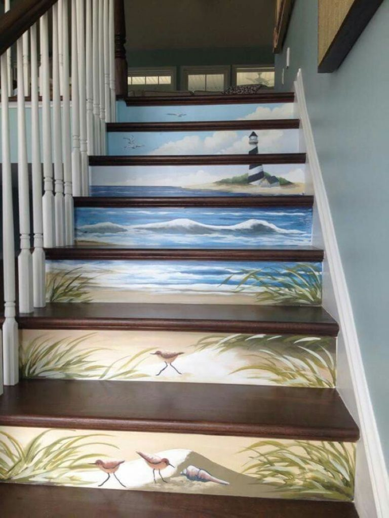 Nature-Inspired Painted Stairs