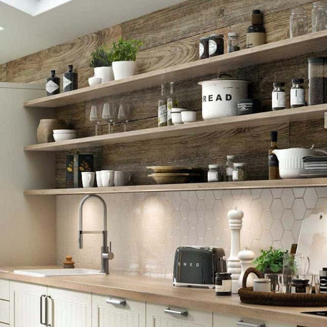 Oak Open Kitchen Shelving