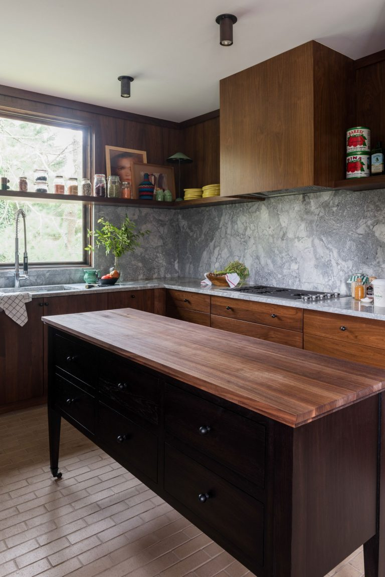 Oak Wood Mid Century Modern Kitchen