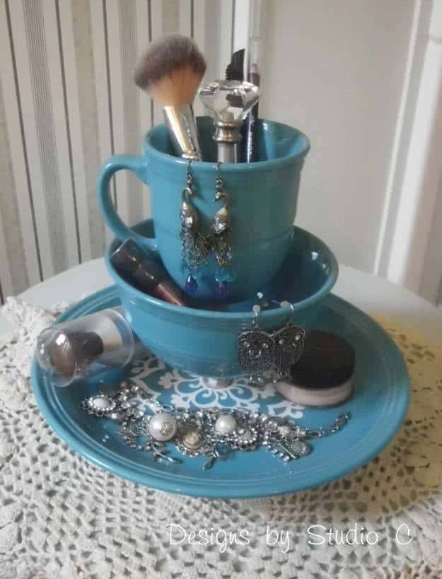 Old Dinnerware Makeup Organizer