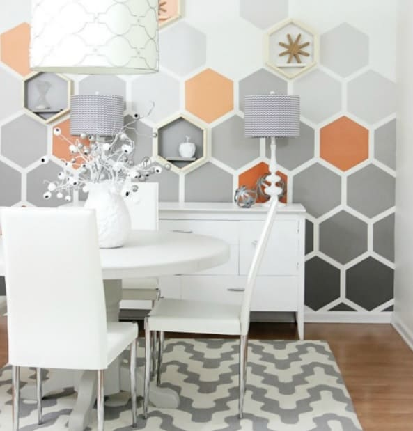 Ombre Hexagon Geometric Wall Paint