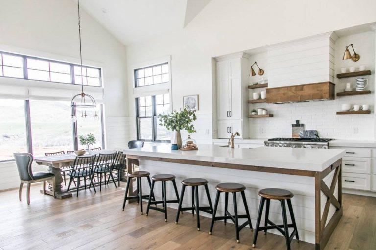 Open-plan white kitchen