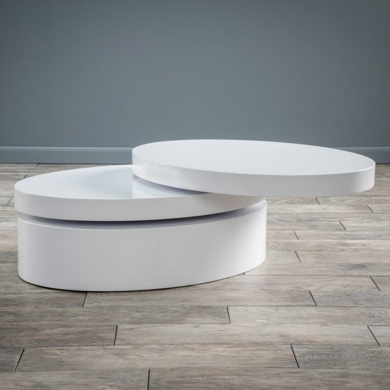 White Oval Mod Swivel Coffee Table