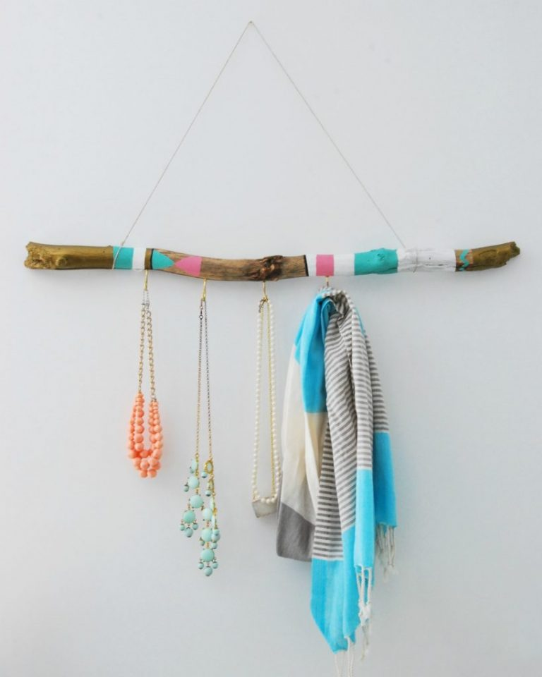 Painted Driftwood Scarf Holder