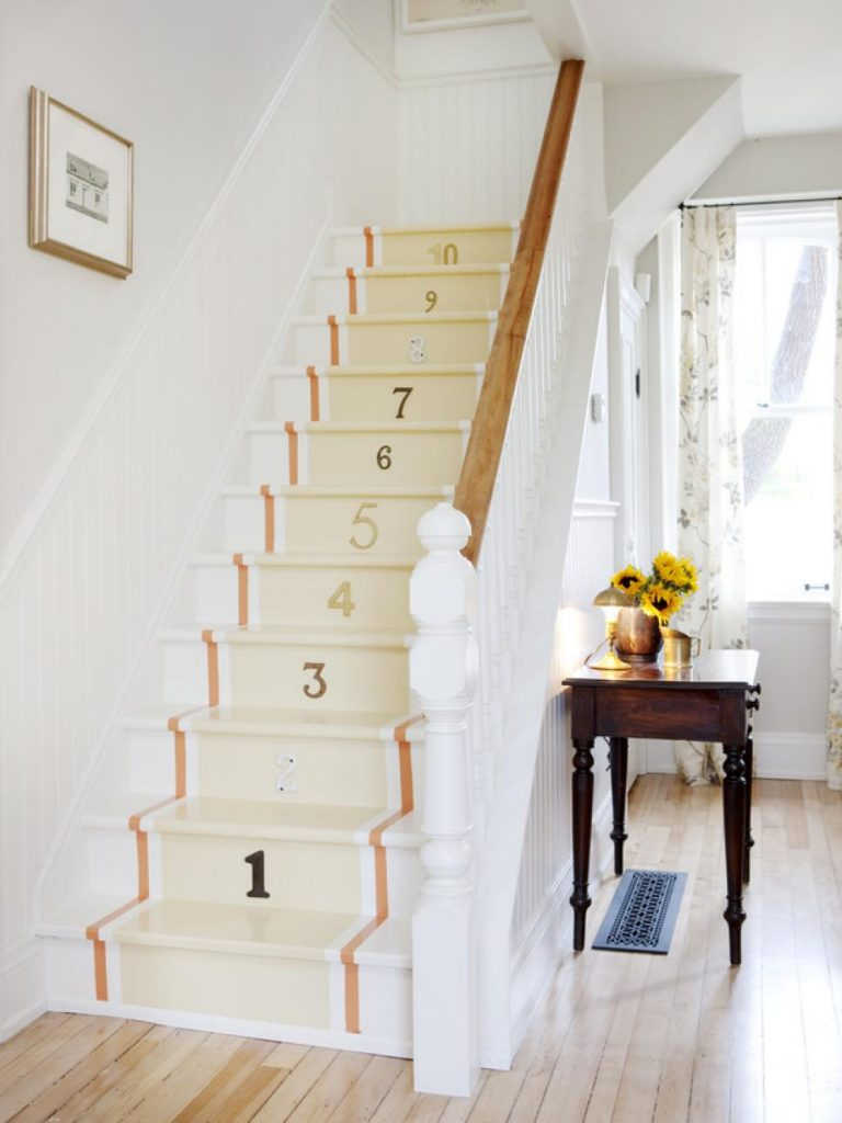 Painted Staircase Ideas - Painting with Counting Number