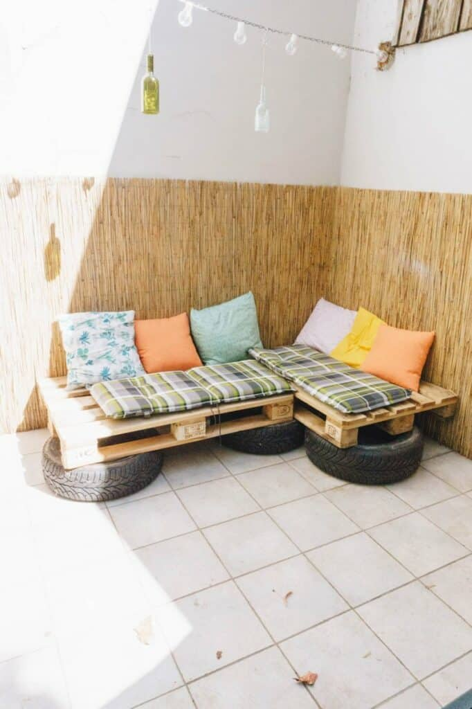 Pallet And Tire DIY Couch