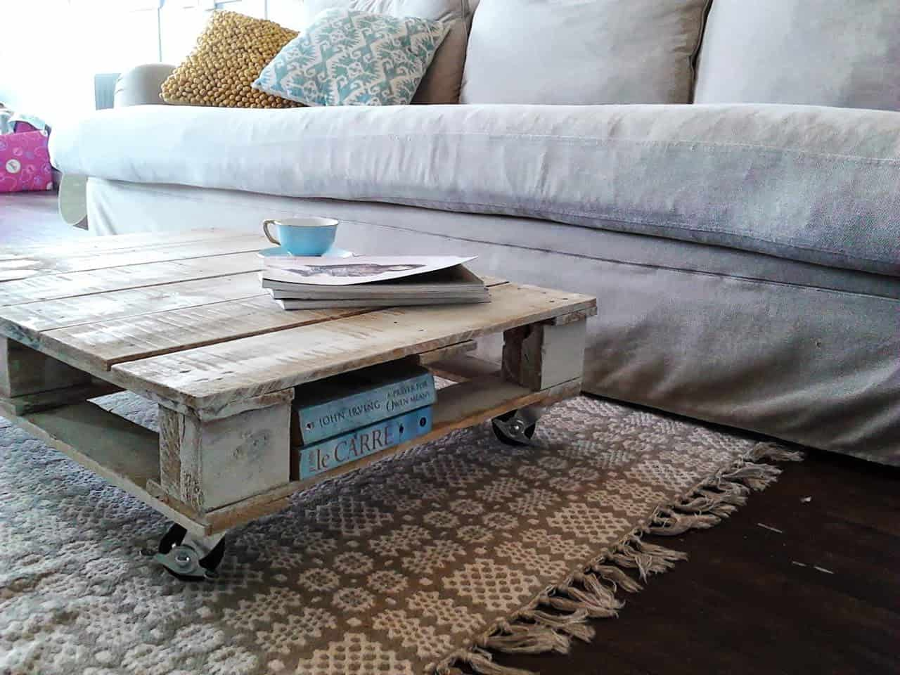 Pallet Coffee Table with Wheels for Rustic Style