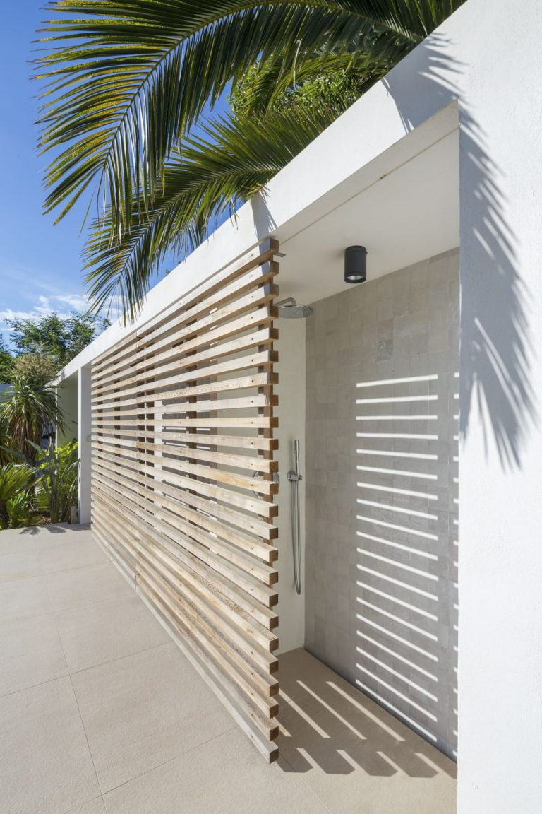 Palm-Lined Outdoor Shower