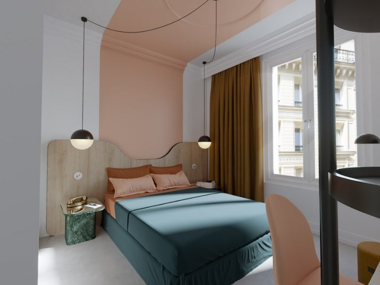 Pastel Accent Art Deco Bedroom