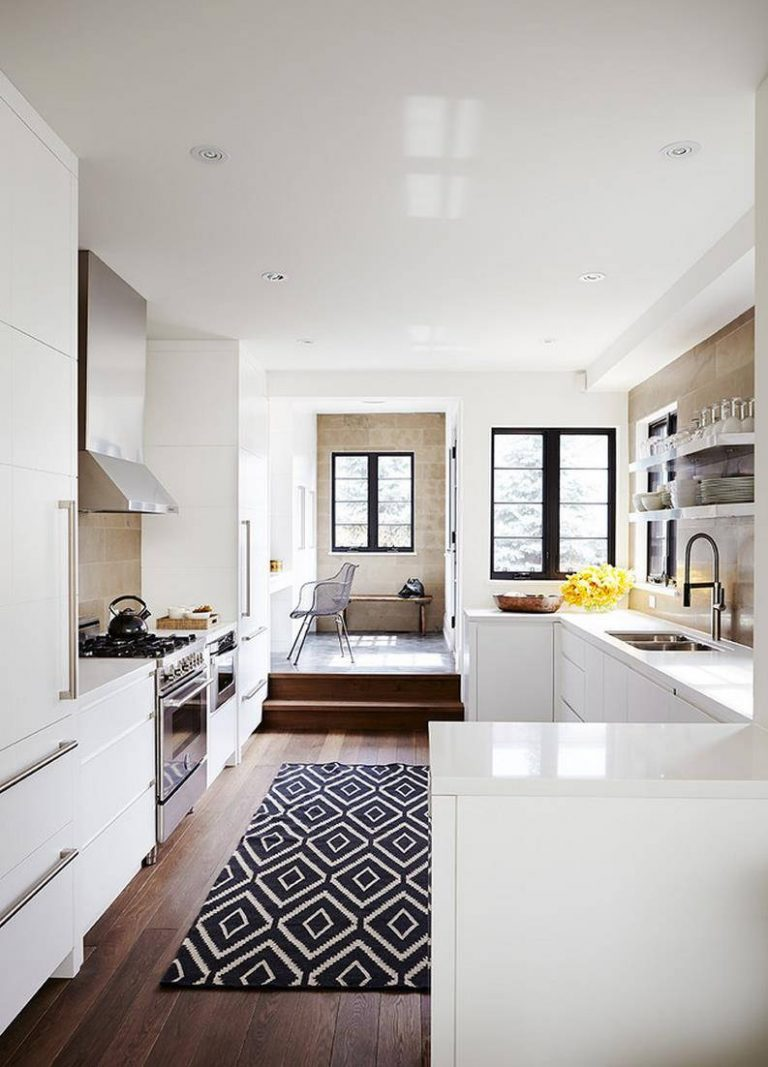 Patterned Rugs in White Kitchen