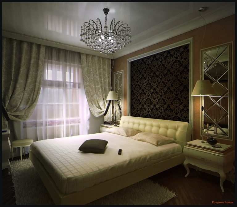 Patterned Wallpaper Art Deco Bedroom