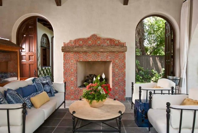 Patterned and Curvy Fireplace Tile Ideas