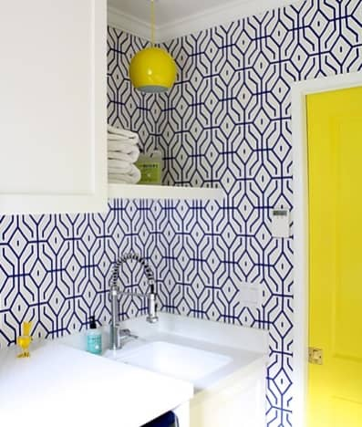 Patterned and Yellow Laundry Room Painting Colors