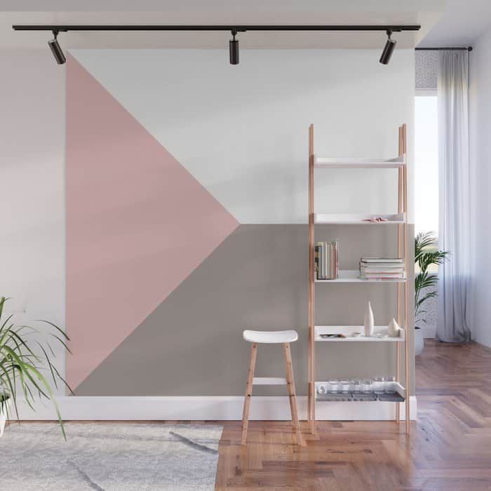 Pink And Grey Geometric Wall Paint