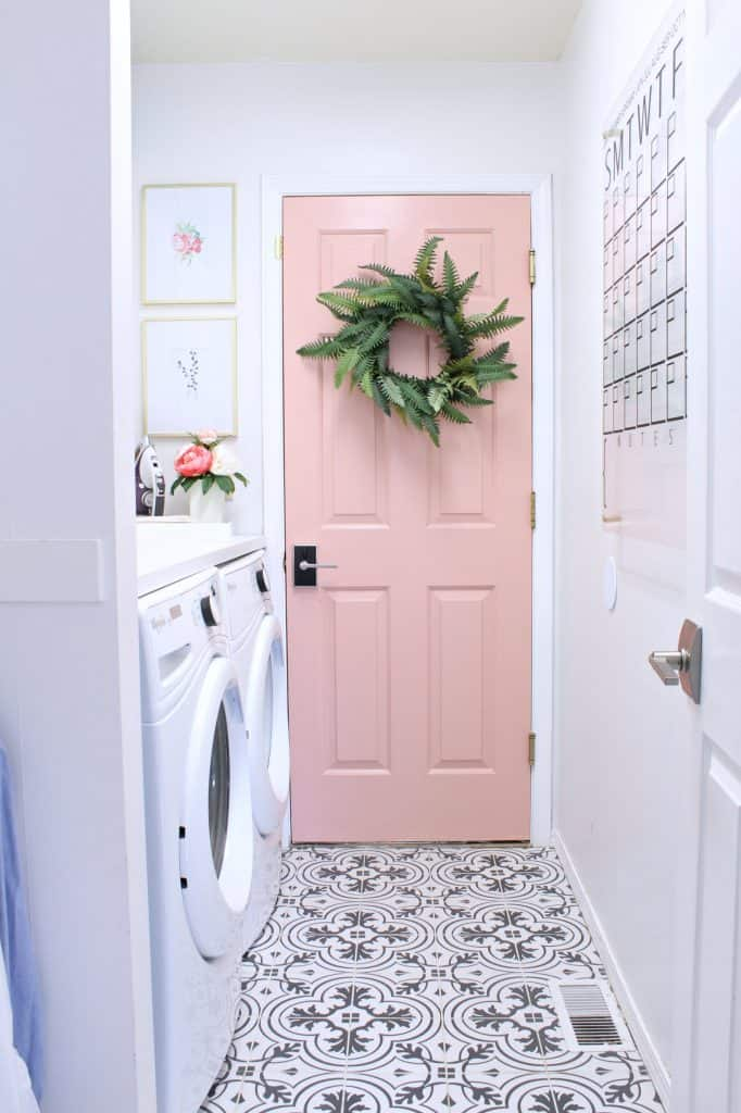 Pink and White Laundry Room Paint Colors