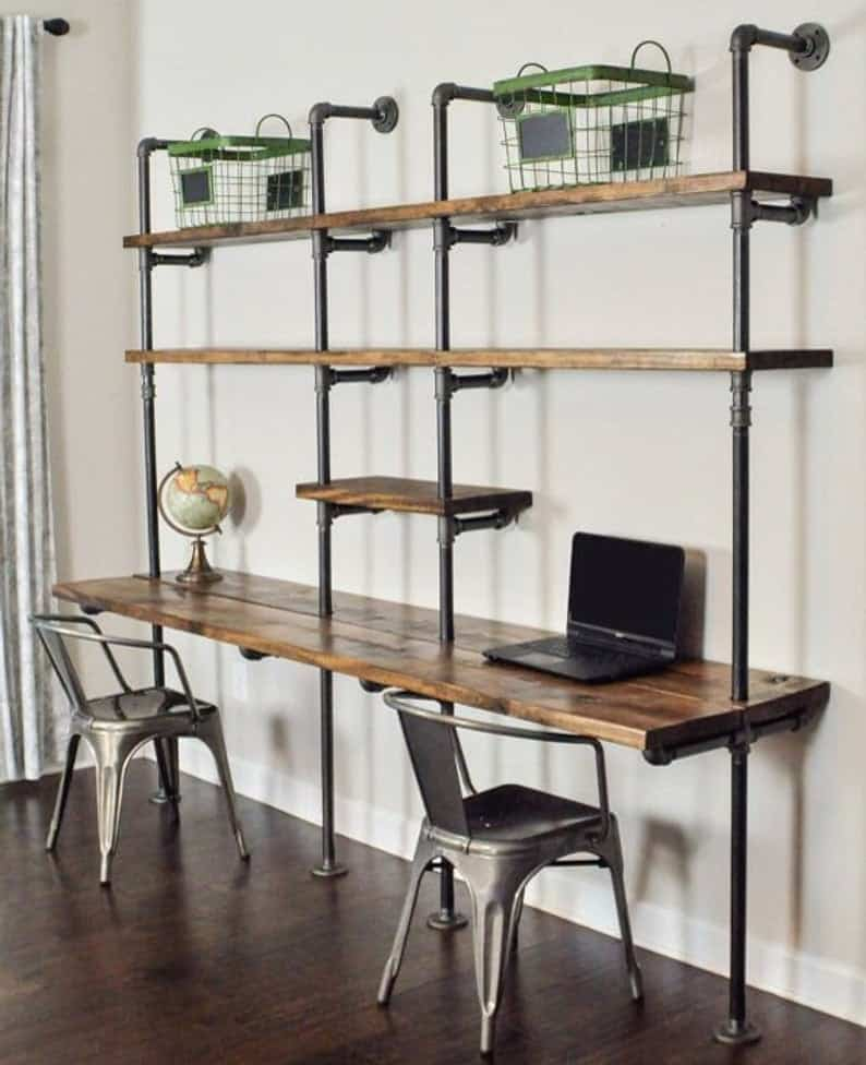 Pipe Computer Desk with Shelves