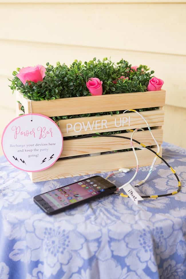 DIY Planter Box Charging Station for Wedding