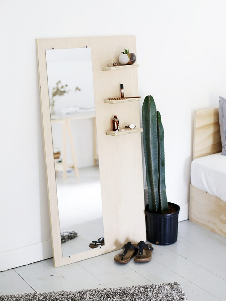 Plywood Leaning Mirror and Shelves