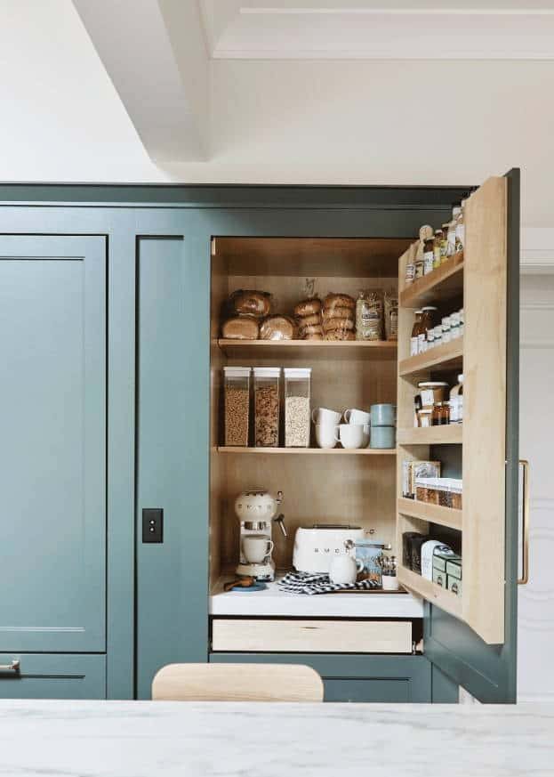 Pull-Out Shelves Coffee Station Ideas