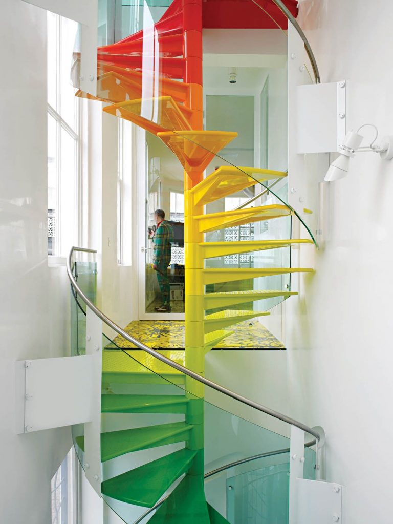 Painted Stairs Ideas - Adorable Rainbow Spiral Staircase