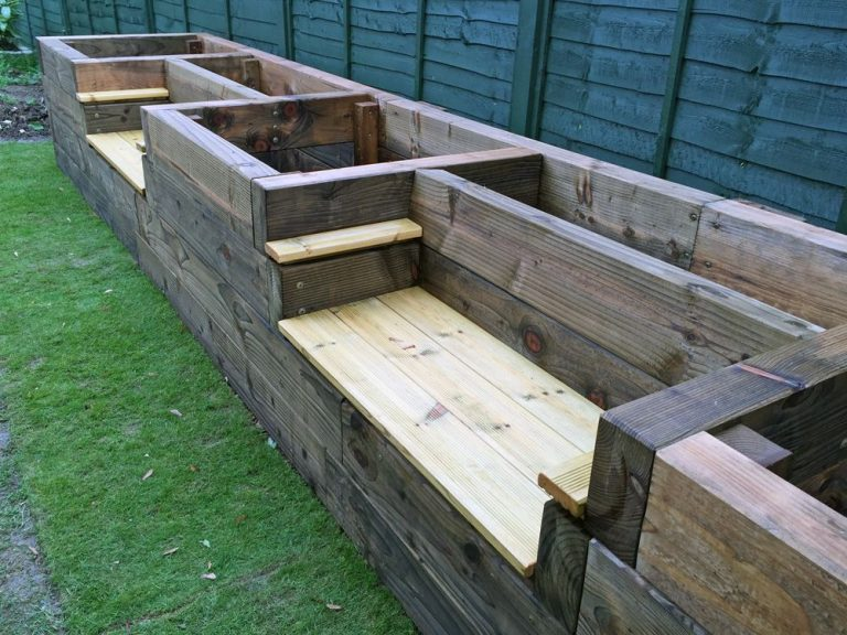 Raised Garden Bed with Bench Seats