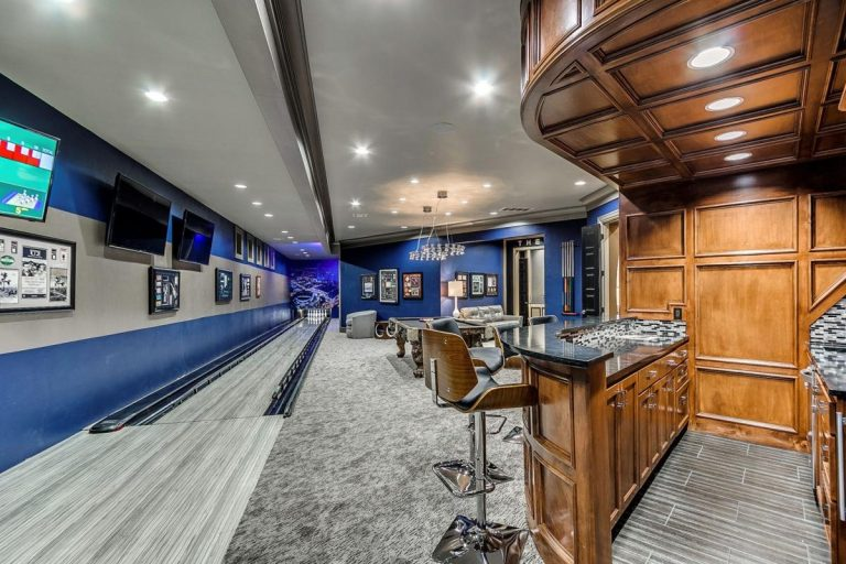 Sporty Rec Room with Bowling Lane