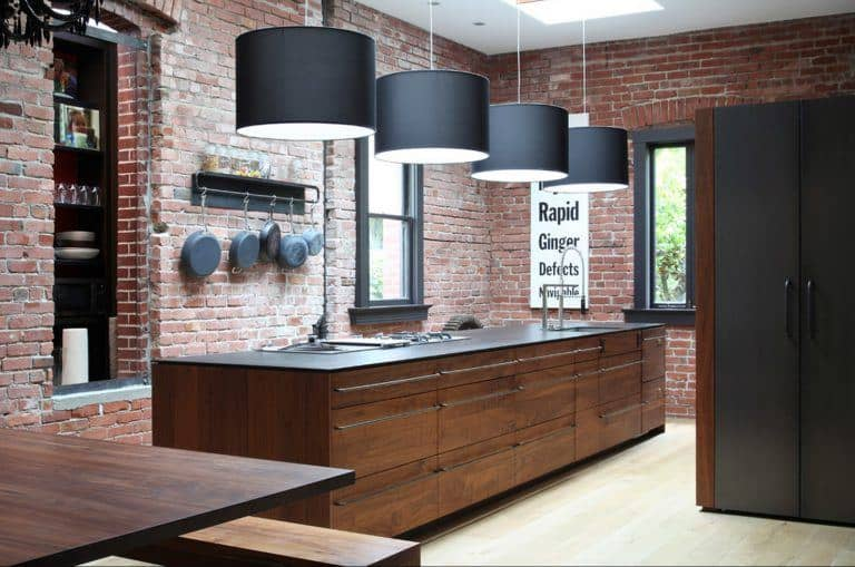 Red Brick Mid Century Modern Kitchen