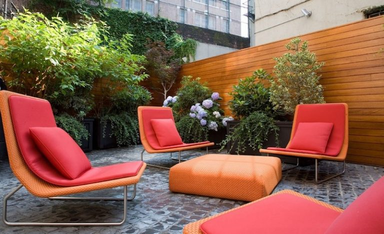 Red Orange Seating Area