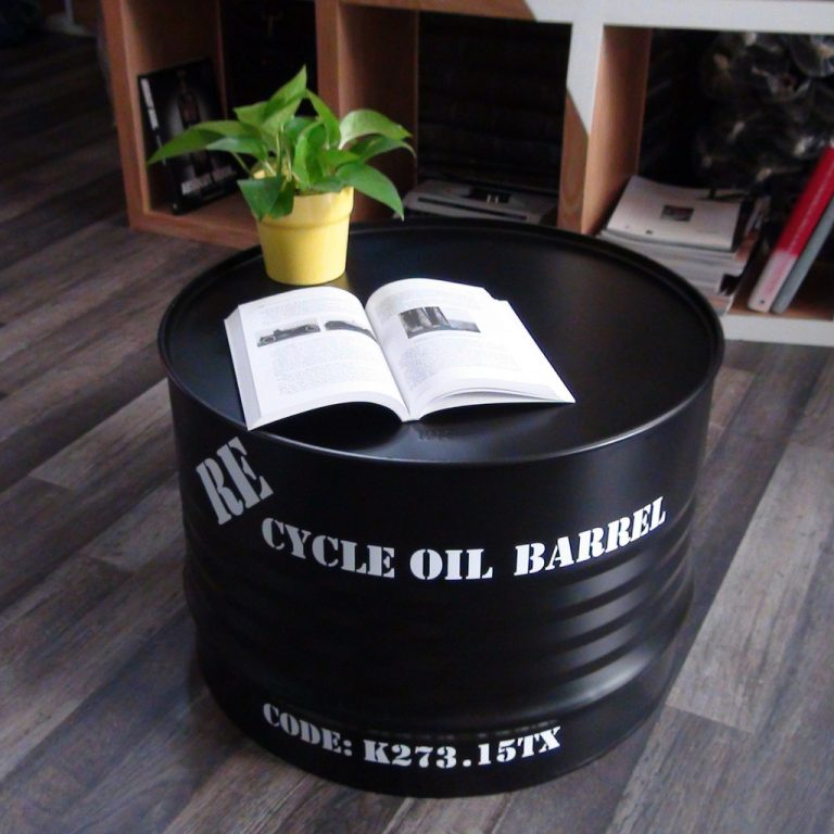 Easy Way Repurposed Metal Barrel Coffee Table