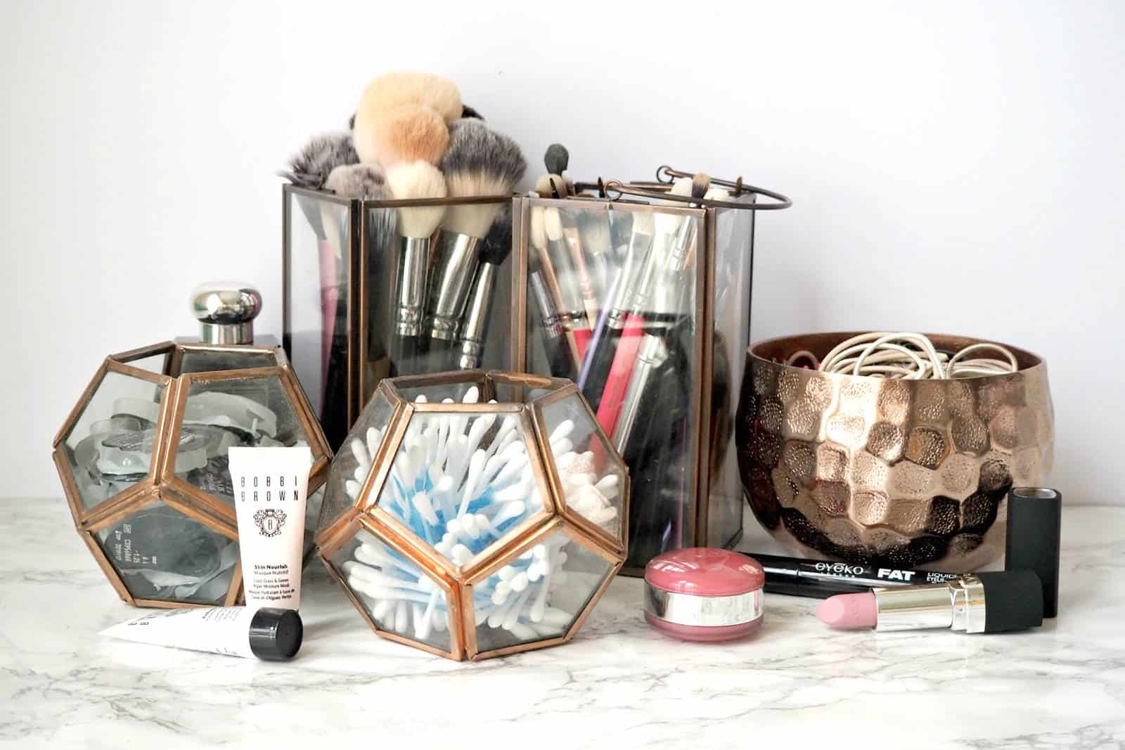 Rose Gold Makeup Storage Ideas