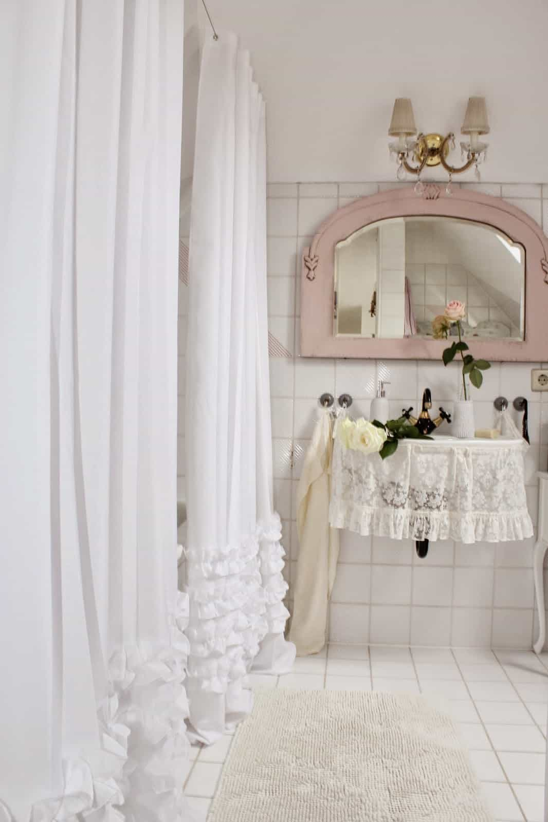 Ruffled Curtain Shabby Chic Bathroom