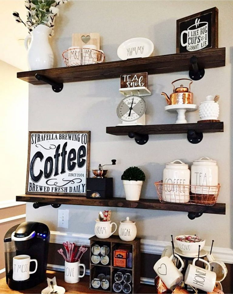 Rustic Floating Shelves Coffee Bar Station