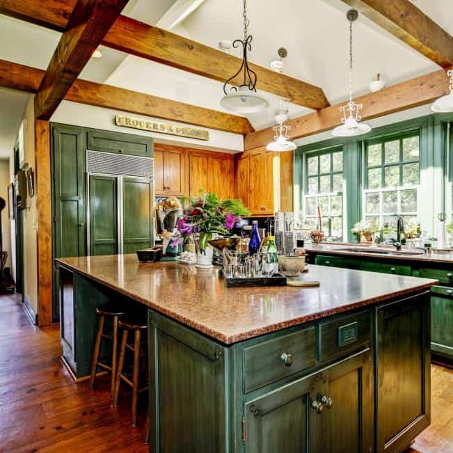 Rustic Green Kitchen Cabinet
