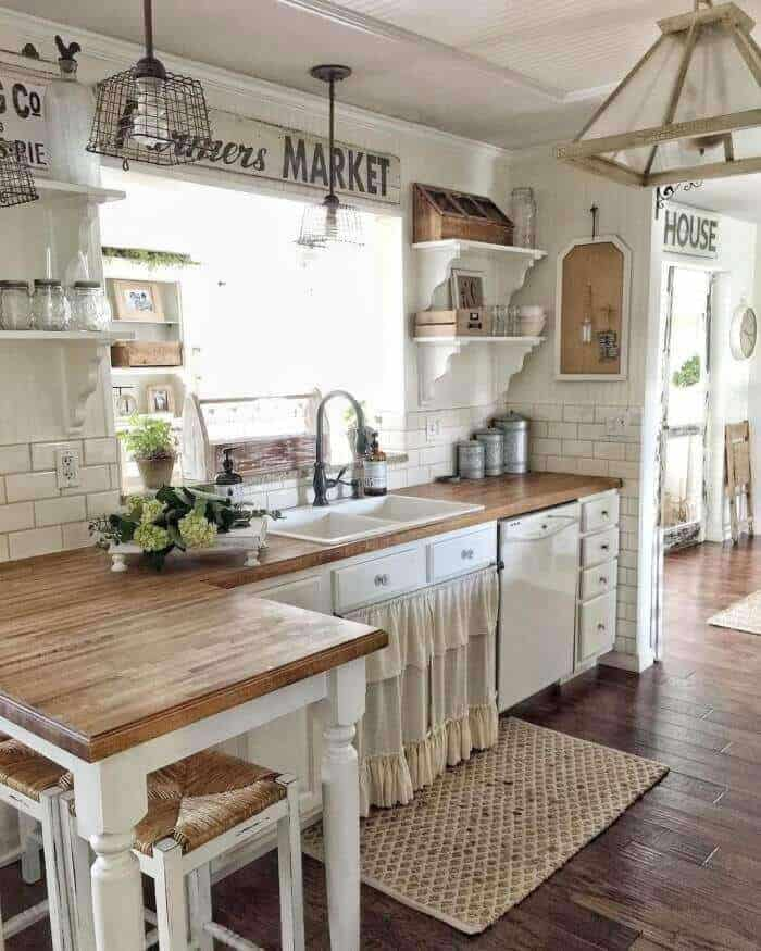 Rustic Kitchen Cabinet Curtain
