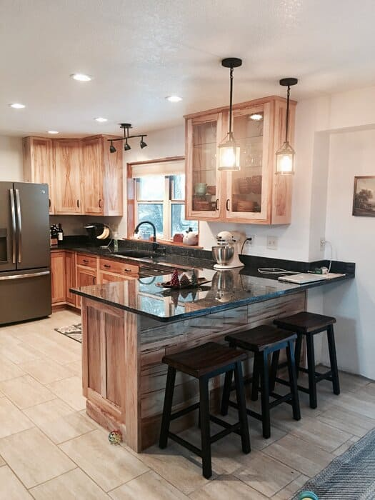 Rustic Kitchen Cabinet with Glass Countertops