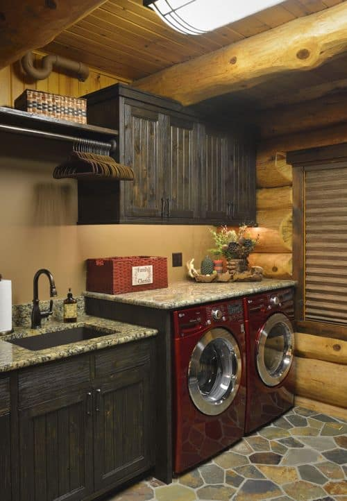 Rustic Log Laundry Room Paint Colors