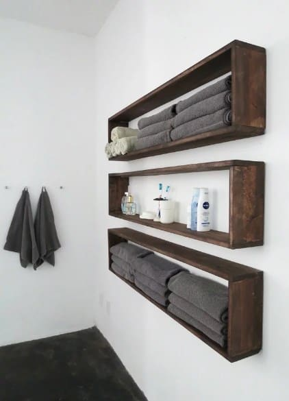 Wooden Shelves Box Towel Rack